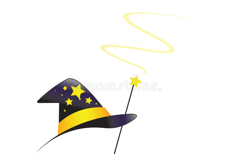 Wizard hat with swirl - vector. Wizard hat with swirl in white background, vector