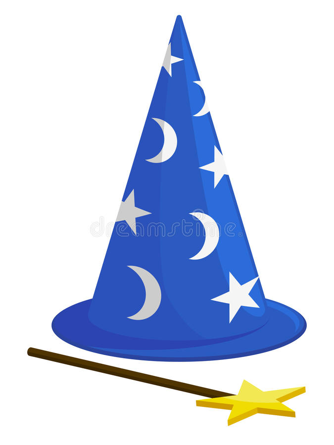Wizard Hat and Wand vector illustration