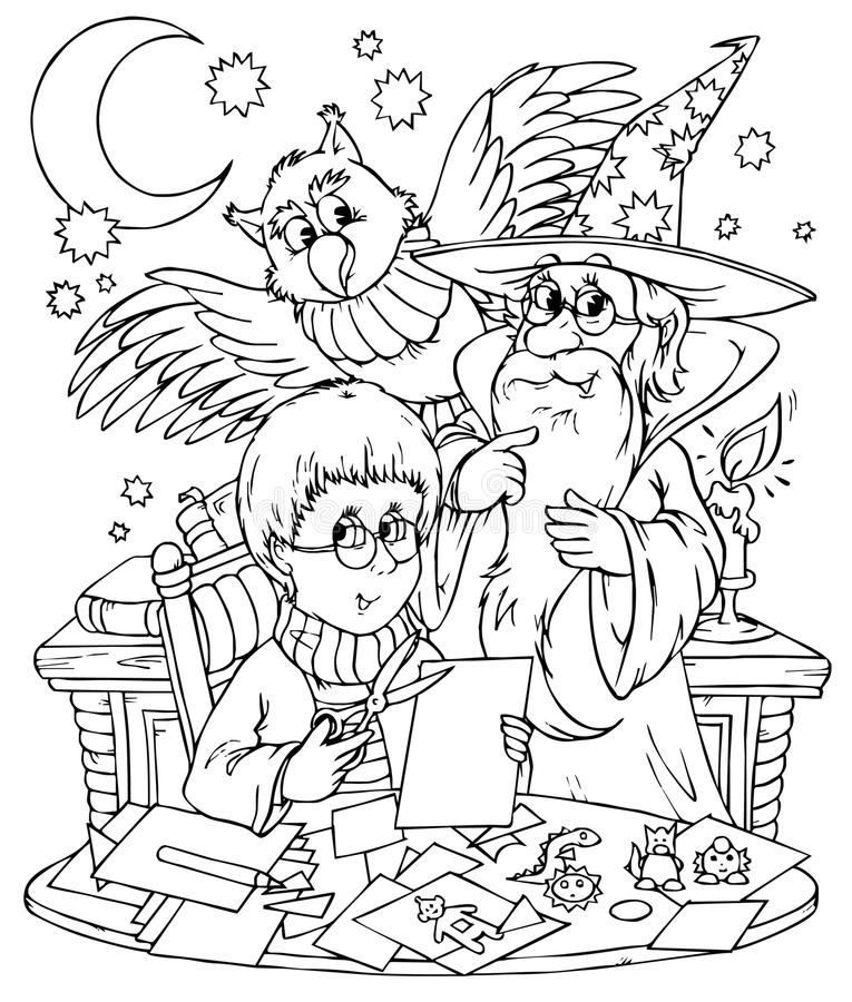Wizard and his pupil. Black-and-white illustration (coloring page): magician with his pupil and owl vector illustration