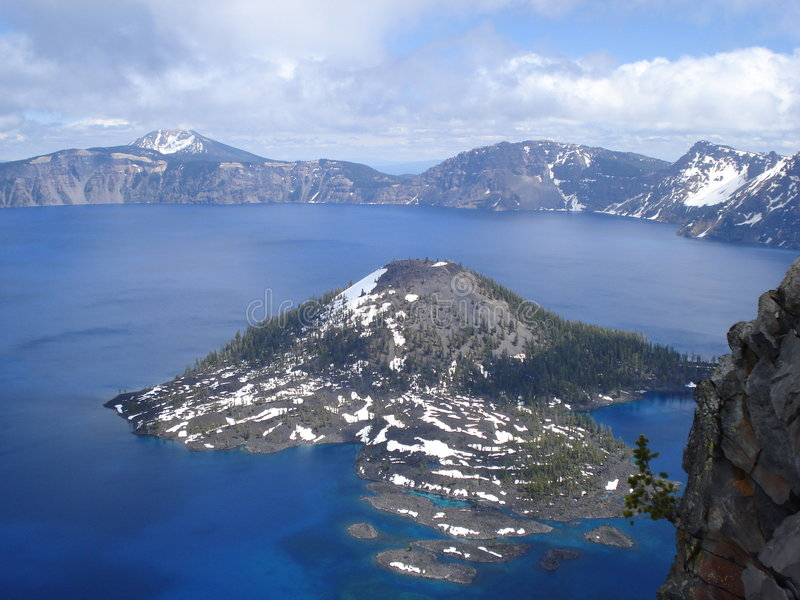 Wizard Island. Is the volcanic feature in Crater Lake stock photo