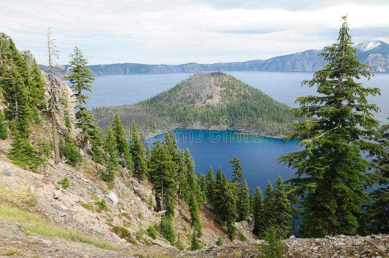 Wizard Island in crater lake royalty free stock images