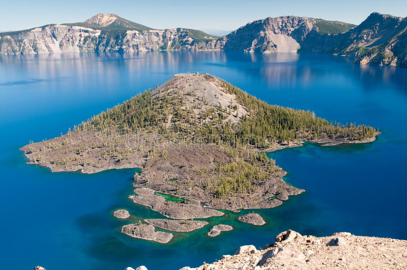 Wizard Island at Crater Lake National Park. In Oregon royalty free stock image