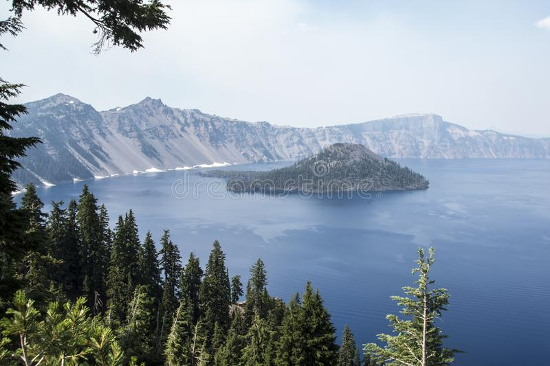 Wizard Island. Picture of Wizard Island at Crater Lake National Park in Oregon, USA royalty free stock photos