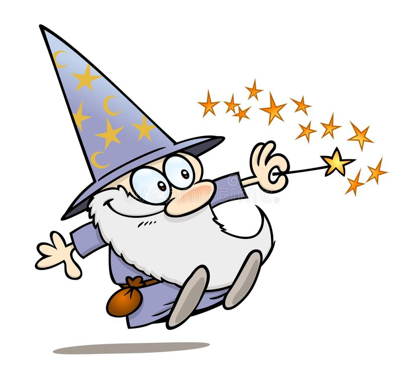 Wizard with magic wand royalty free illustration