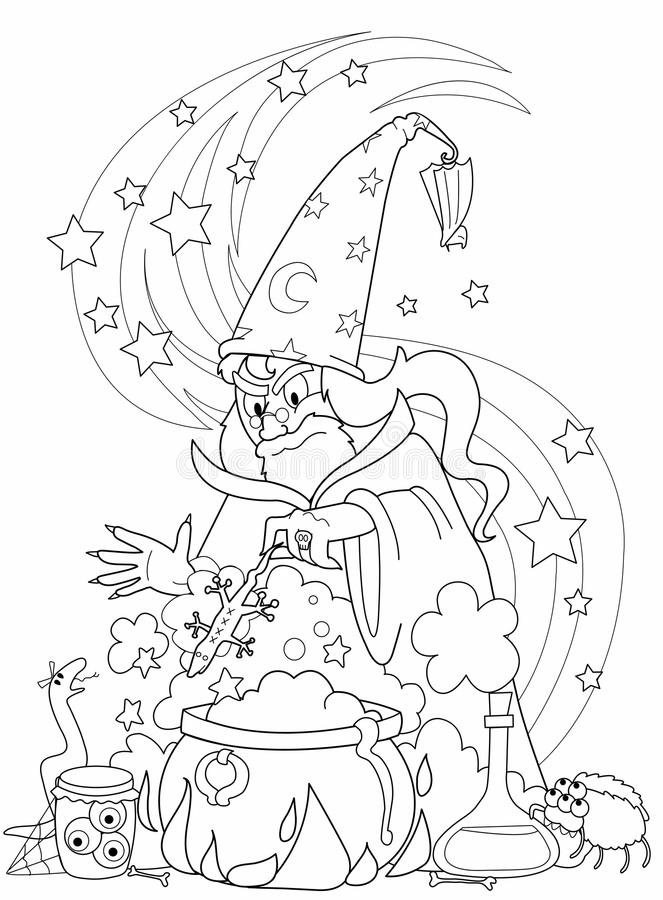 Download Wizard making a potion stock vector. Image of ugly, magic - 19521414
