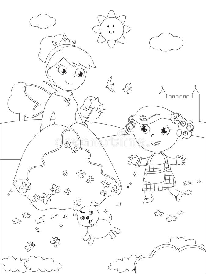 Coloring wizard of Oz 07 Dorothy and Glinda. The wizard of Oz. Dorothy with her dog and the South witch Glinda, coloring illustration vector illustration