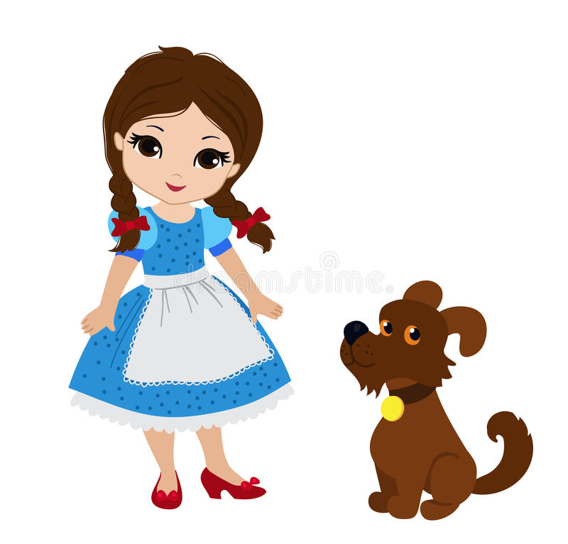 Wizard of Oz. Dorothy and her puppy. stock illustration