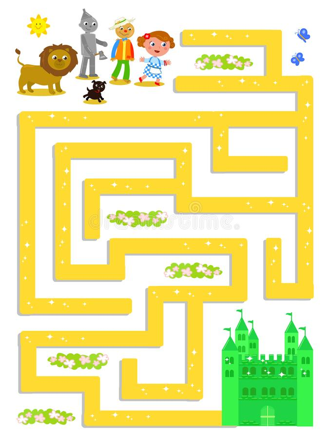 Wizard of OZ labyrinth help Dorothy to find the way vector illustration