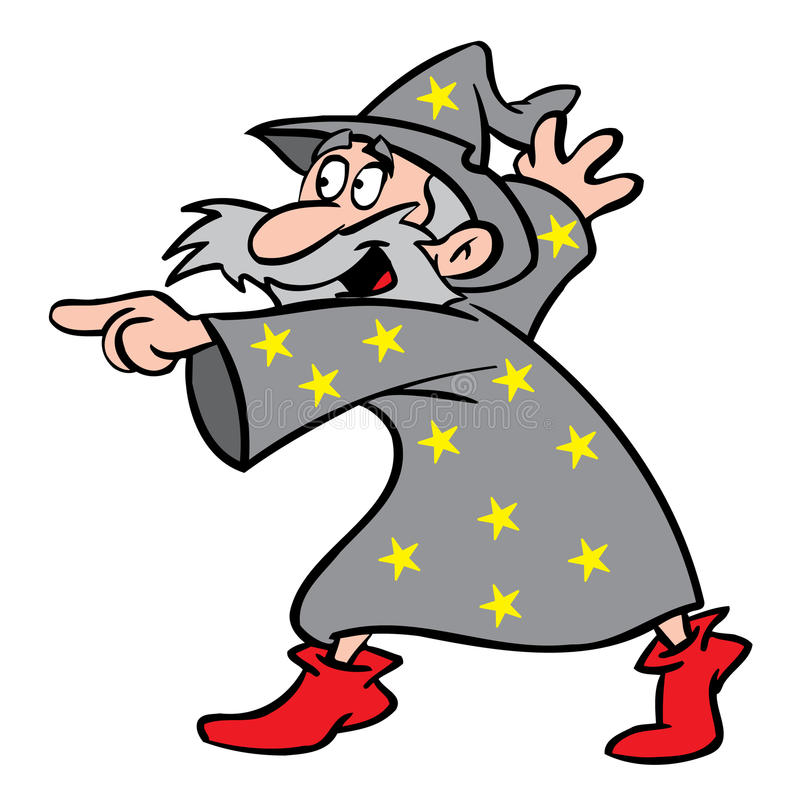 Wizard pointing royalty free illustration
