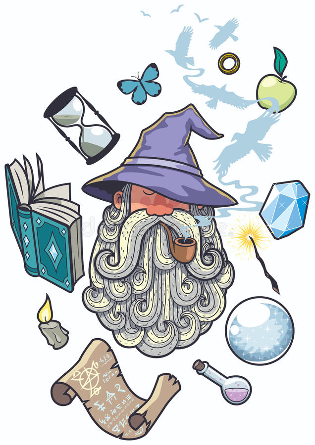 Wizard Portrait royalty free illustration
