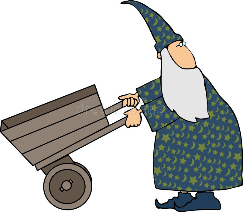 Wizard pushing a cart royalty free illustration