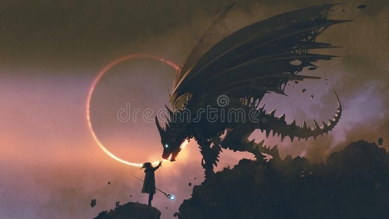 The wizard reaching hand out to his dragon. Scene of the wizard reaching hand out to his dragon standing on the rock, digital art style, illustration painting royalty free illustration