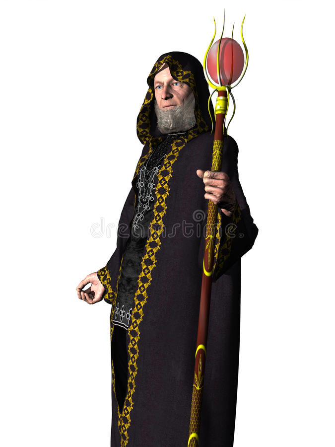 Wizard in robes with staff vector illustration