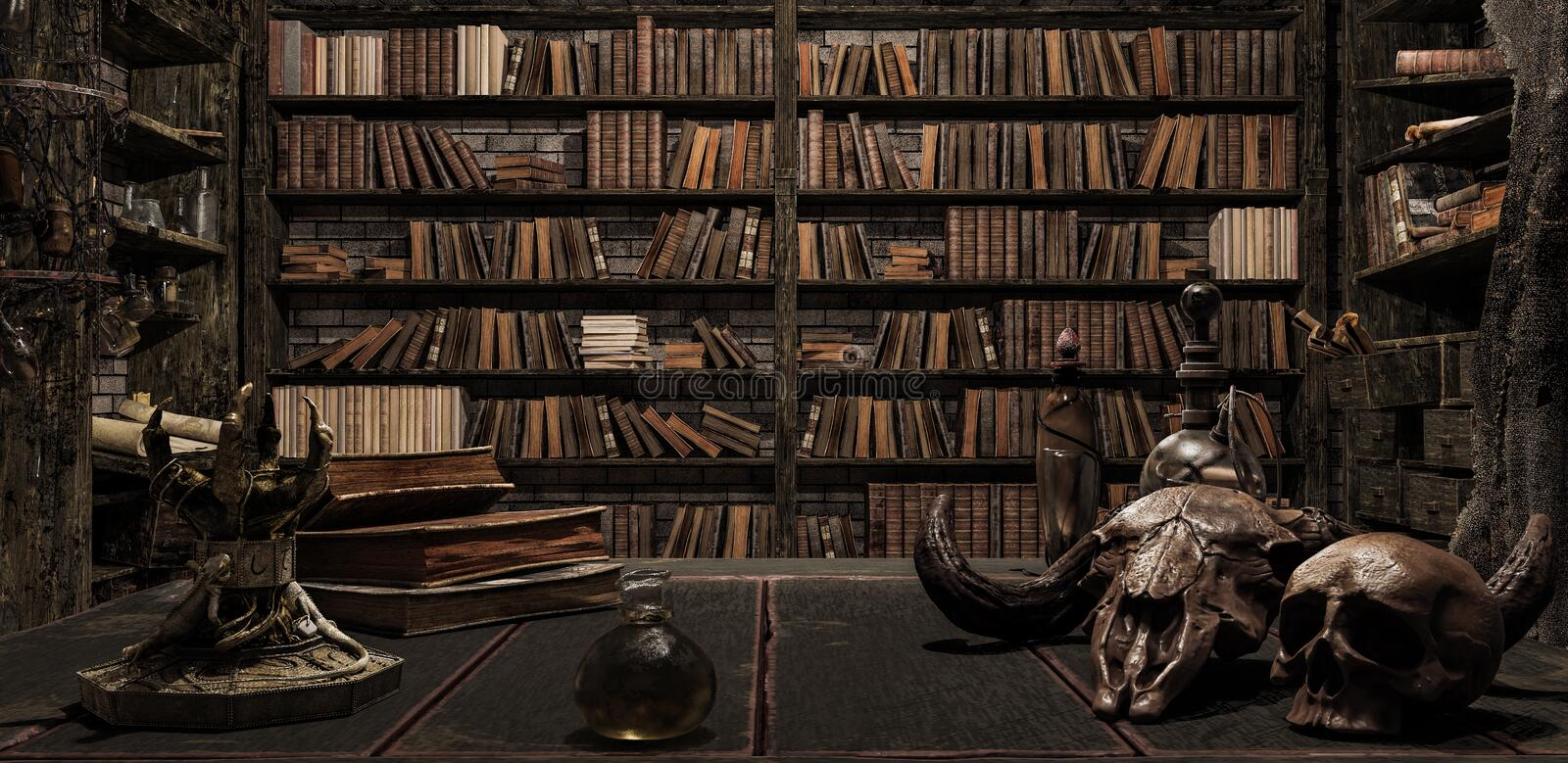 The wizard`s room with library, old books, potion, and scary things 3d render vector illustration