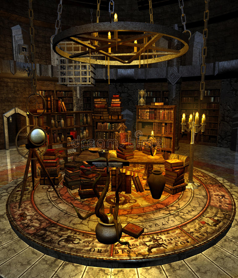 Wizard's study 1 stock illustration