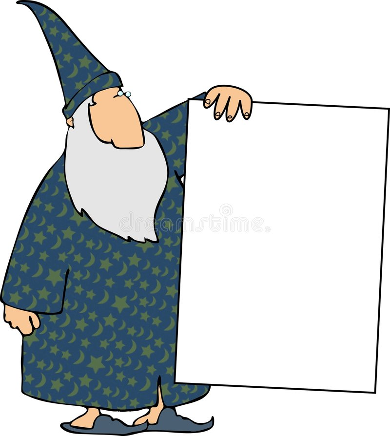 Wizard with a sign vector illustration
