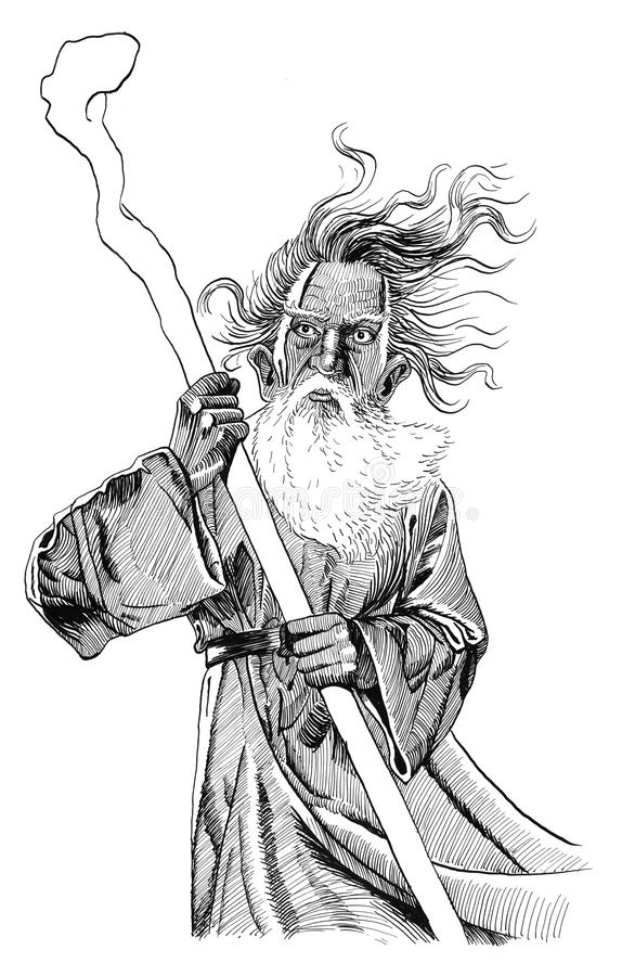 Download Wizard with staff stock illustration. Image of spell - 14734787