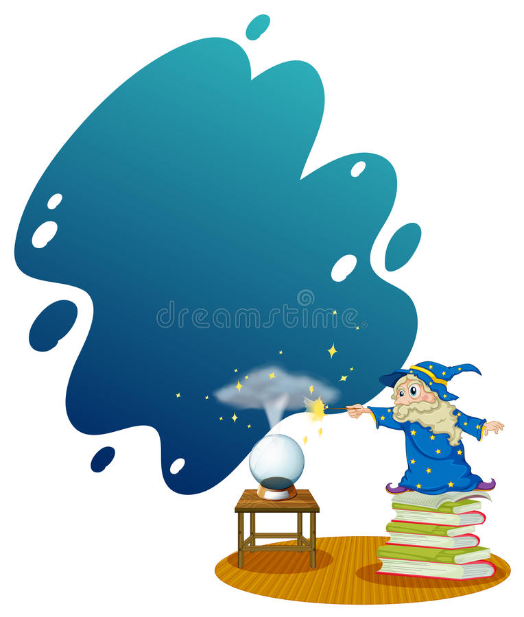A wizard at the top of the piled books. Illustration of a wizard at the top of the piled books on a white background stock illustration