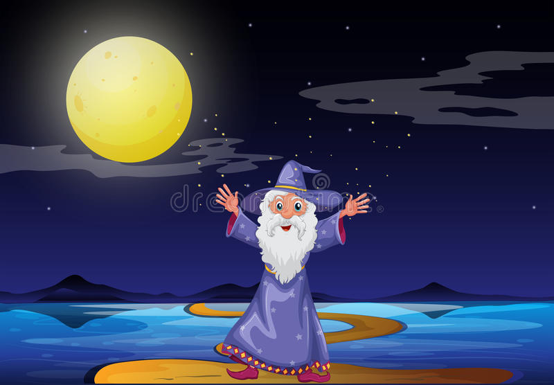 A wizard under the bright fullmoon