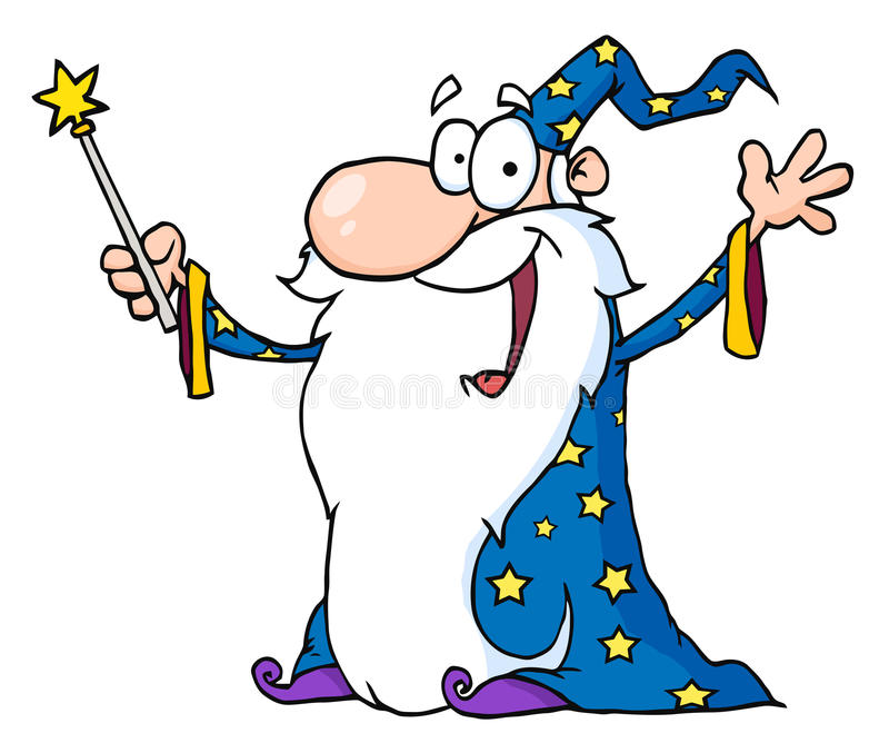 Wizard waving and cape holding a magic wand stock illustration