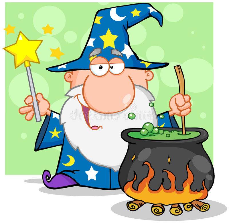 Wizard Waving With Magic Wand And Preparing A Poti royalty free illustration