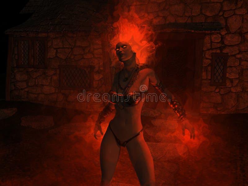Wizard woman castin fire spells vector illustration
