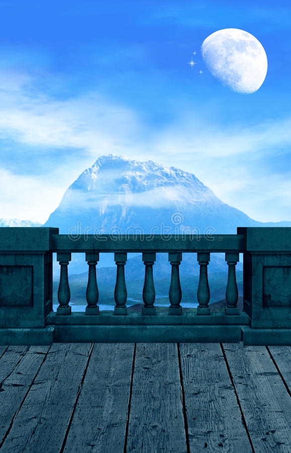 The Wizards Look Out. A balcony overlooking a mountain and the almost, full moon and blue skies vector illustration