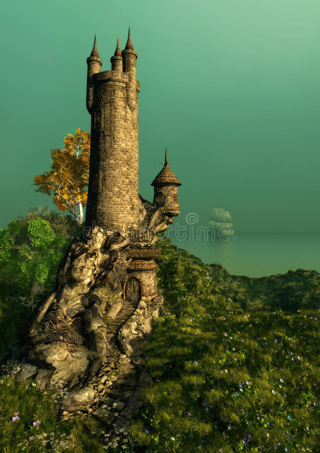The Wizards Tower stock illustration