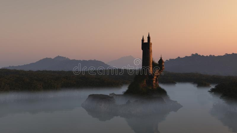 Wizards Tower at Sunrise stock illustration