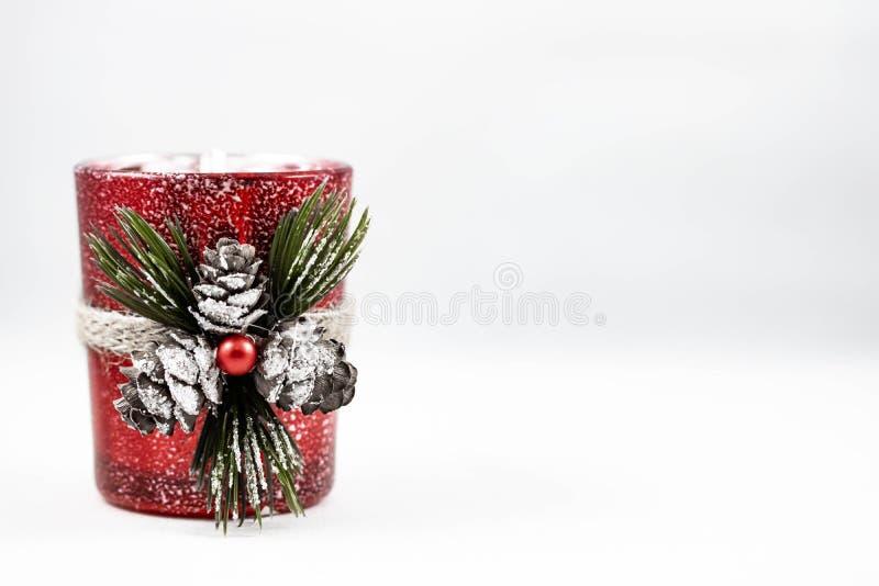 Wizerunek świeczki pojedynczy Bożenarodzeniowi ornamenty fotografia royalty free