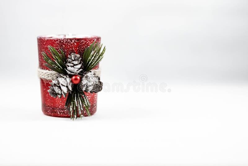 Wizerunek świeczki pojedynczy Bożenarodzeniowi ornamenty obrazy royalty free