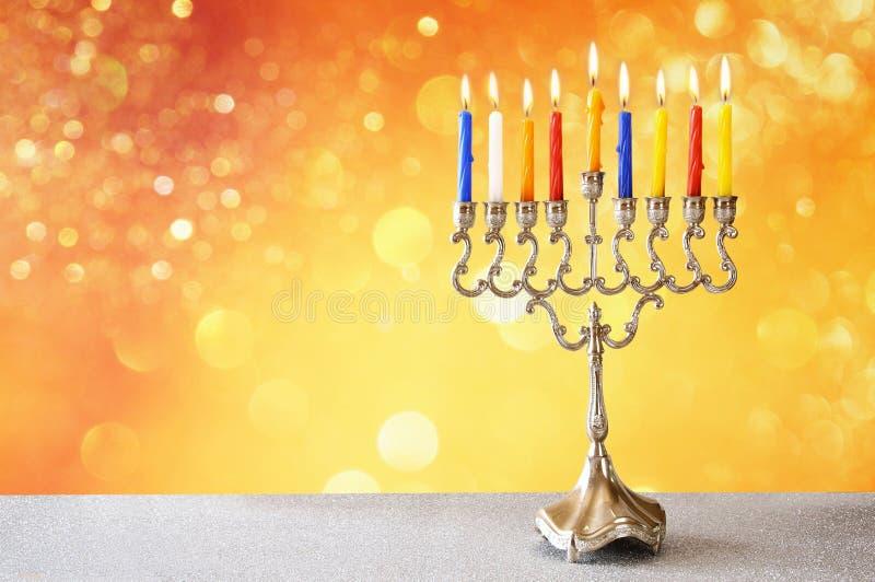 Wizerunek żydowski wakacyjny Hanukkah z menorah