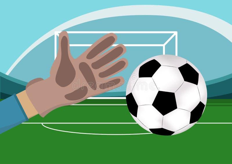 Wizerunek bramkarz ręka z rękawiczkami trzyma piłki nożnej piłkę Stadium z boiskiem piłkarskim i bramami na tle wektor ilustracji
