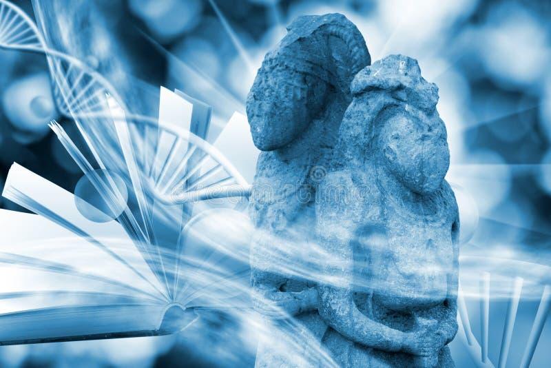 Wizerunek cząsteczkowa struktura, DNA łańcuchy i antyczne kamienne rzeźby, ilustracja wektor