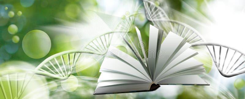 Wizerunek cząsteczkowa struktura i łańcuch dna na zielonym tła zbliżeniu, wizerunek książki ilustracja wektor