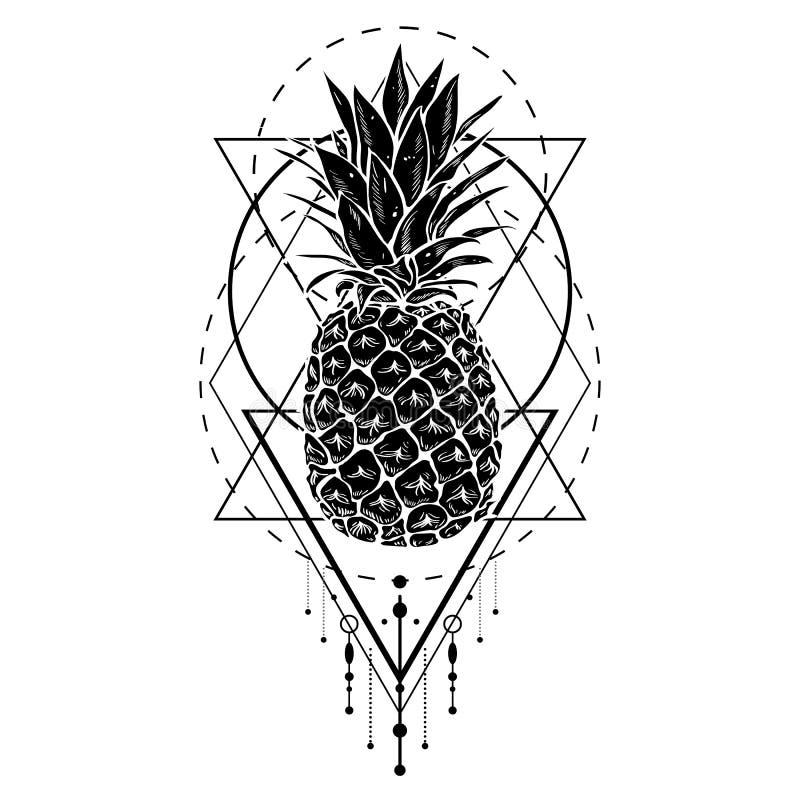 Wizerunek czarna biała ananasowa owoc z geometrycznymi postaciami Drukuje koszulkę, graficzny element dla twój projekta, tatuaż ilustracja wektor