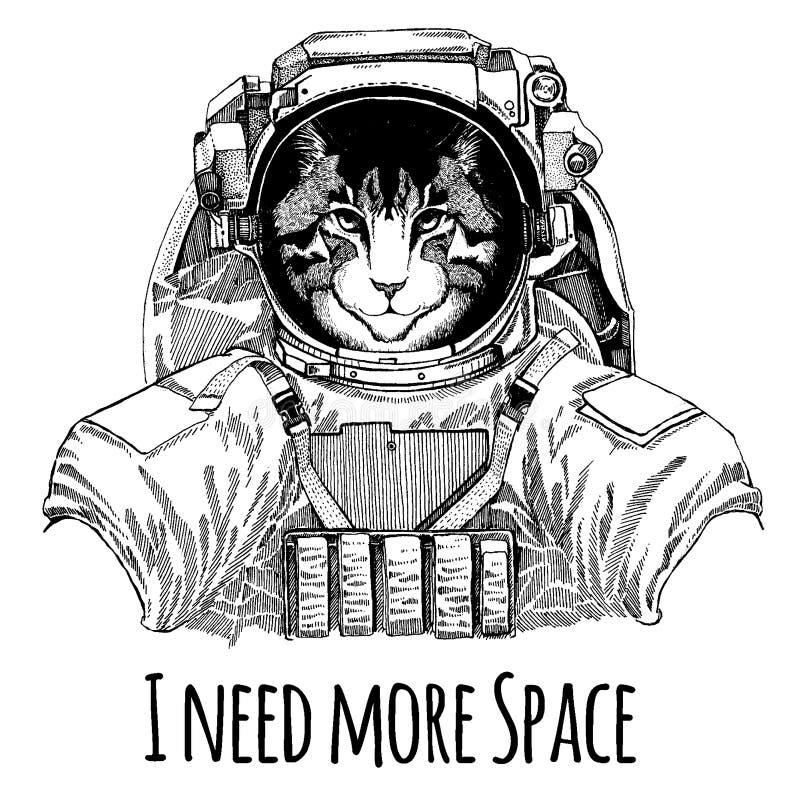 Wizerunek domowego kota astronauta Astronautyczny kostium Wręcza patroszonego wizerunek lew dla tatuażu, koszulka, emblemat, odzn ilustracji