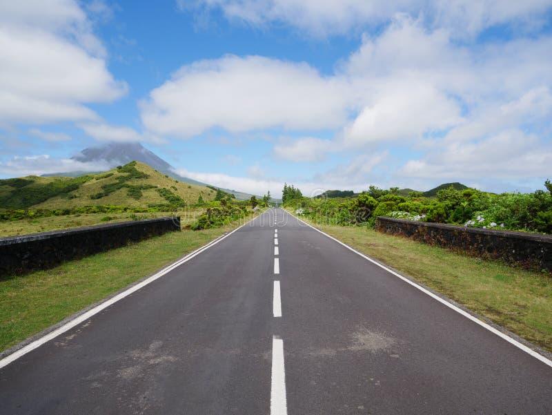 Wizerunek drogowy prowadzić avanishing punkt z górą Pico i roślinność zdjęcie stock