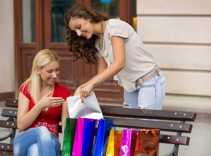 Wizerunek dwa młodej kobiety z torba na zakupy zdjęcie stock