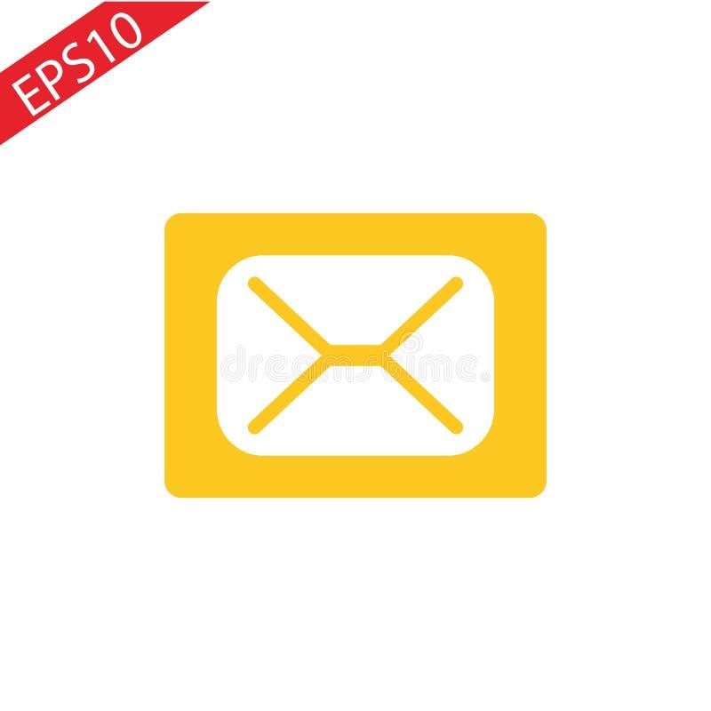 Wizerunek email ikona przeciw kolorowemu pomarańczowemu tłu royalty ilustracja