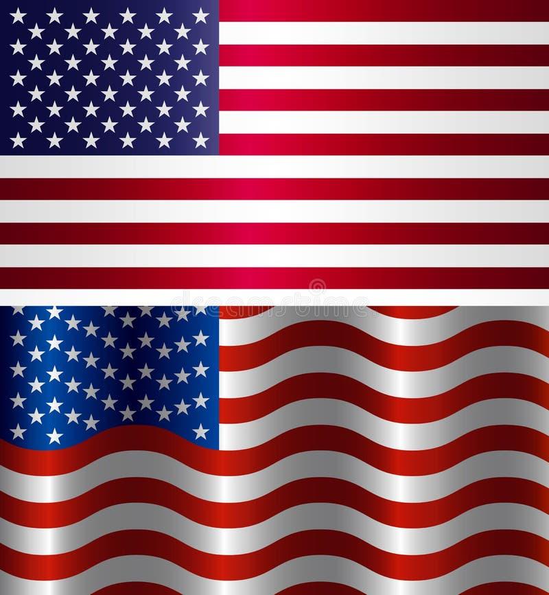 Wizerunek flaga amerykańska, symbolu usa na Białym tle ilustracja wektor