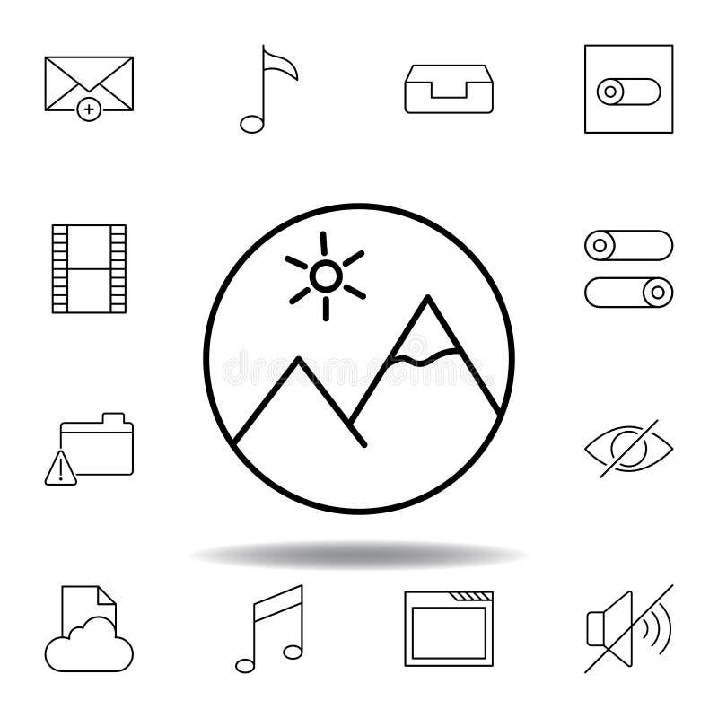 Wizerunek g?r konturu medialna ikona Szczegółowy set unigrid ilustracji multimedialne ikony Mo?e u?ywa? dla sieci, logo, mobilny  royalty ilustracja