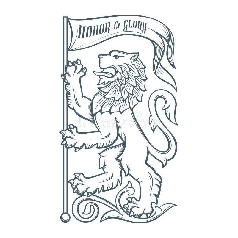 Wizerunek heraldyczny lew z flaga ilustracji