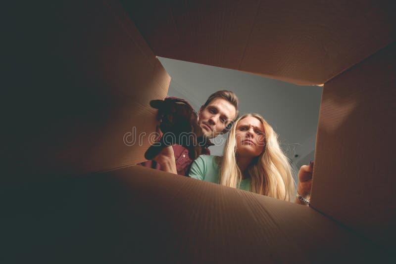 Wizerunek kobieta i mężczyzna patrzeje wśrodku kartonu fotografia stock