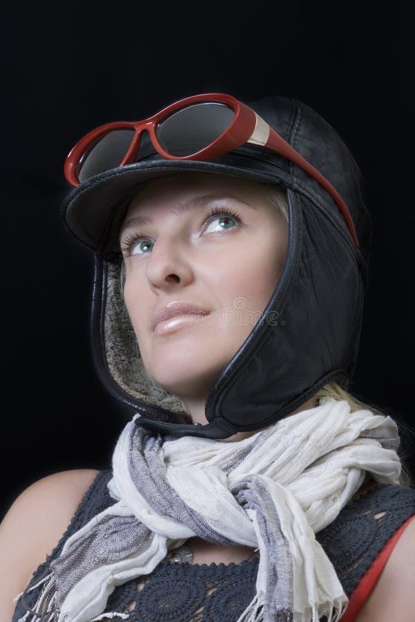 wizerunek kobieta pilotowa figlarnie zdjęcia stock