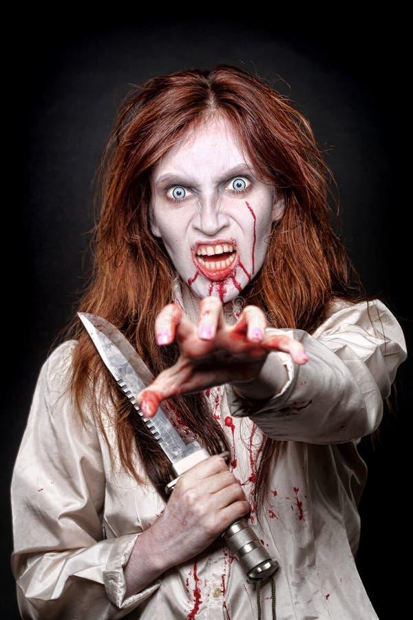 Wizerunek Krwawiąca Psychotyczna kobieta obrazy royalty free