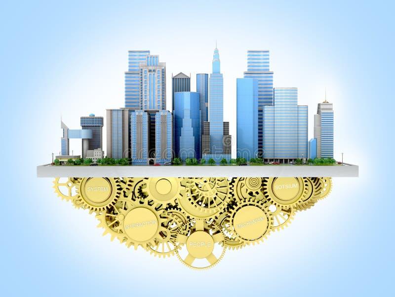 Wizerunek miasto stać z przekładniami royalty ilustracja