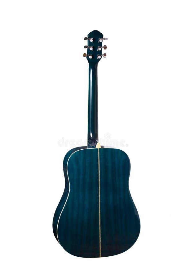 Wizerunek odizolowywający pod białym tłem błękitna gitara akustyczna widok z powrotem obrazy stock