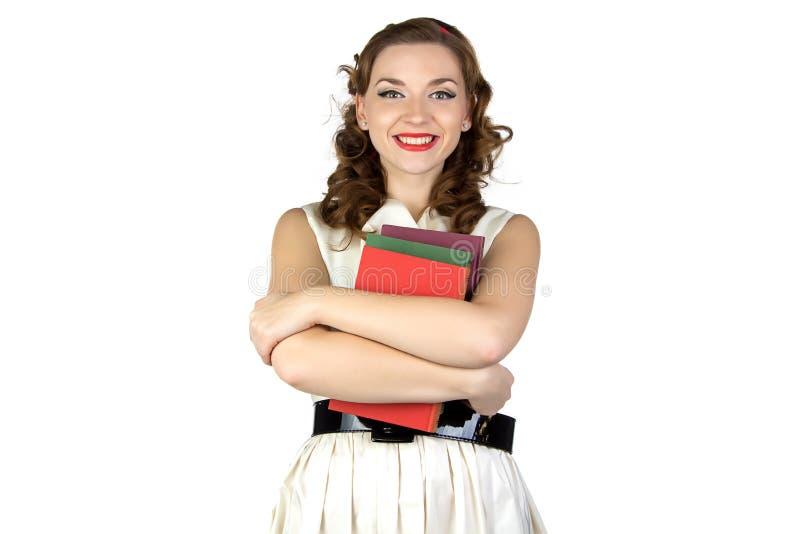 Wizerunek pinup kobieta z książkami obrazy stock
