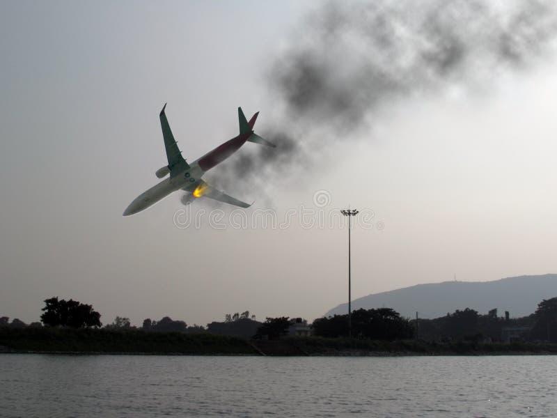 Katastrofy samolotu lotnictwa katastrofa zdjęcie stock